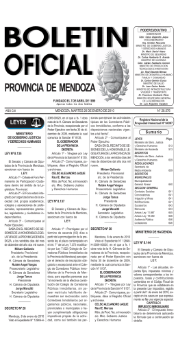PROVINCIA DE MENDOZA - Gobernación de Mendoza
