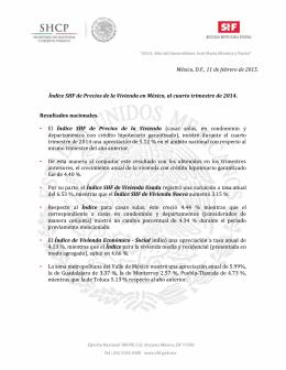 Índice SHF de Precios de la Vivienda en México, al cuarto trimestre de