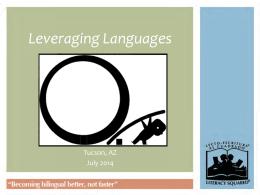 Leveraging Languages