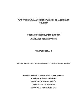 plan integral para la comercialización de aloe vera en colombia