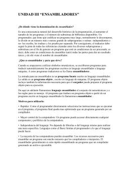 """UNIDAD III """"ENSAMBLADORES"""""""