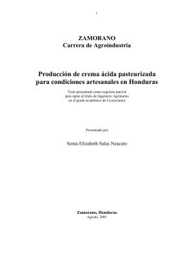 Produccion de crema acida pasteurizada para condiciones