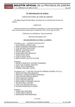 Zamora - Elecciones Locales 2015