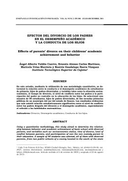 EFECTOS DEL DIVORCIO DE LOS PADRES EN EL DESEMPEÑO