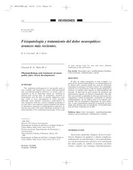 Fisiopatología y tratamiento del dolor neuropático