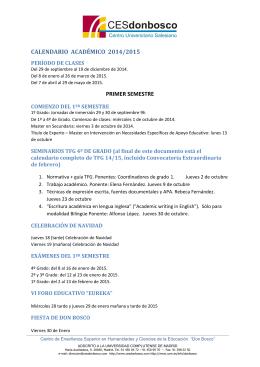 calendario académico 2014/2015 primer semestre