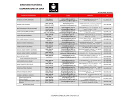 DIRECTORIO TELEFÓNICO COORDINACIONES DE ZONA