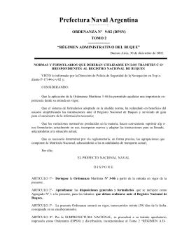 Ordenanza Nº 9/2002 - Prefectura Naval Argentina