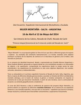MUJER MONTAÑA - SALTA - ARGENTINA 16 de Abril al 12 de