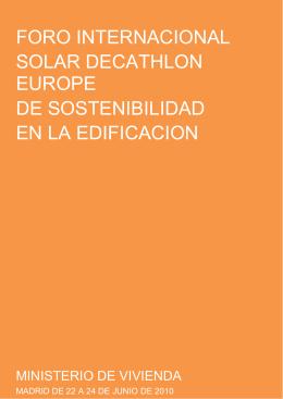 FORO INTERNACIONAL SOLAR DECATHLON EUROPE DE