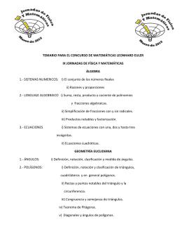 Temario Matemáticas 2015
