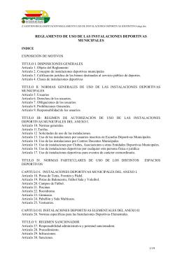 reglamento de uso de las instalaciones deportivas municipales