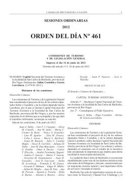 orden del día nº 461 - Honorable Cámara de Diputados de la Nación