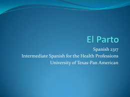 Spanish 2317 Intermediate Spanish for the Health Professions
