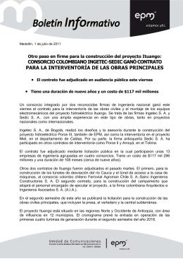 consorcio colombiano ingetec-sedic ganó contrato para la