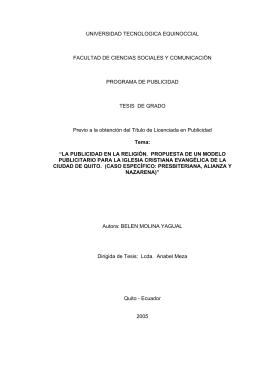 UNIVERSIDAD TECNOLOGICA EQUINOCCIAL FACULTAD DE