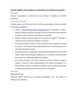 Registro de Proveedores y Contratistas en el Sistema CompraNet