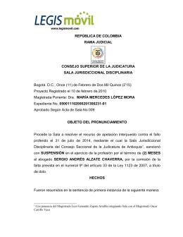 REPÚBLICA DE COLOMBIA RAMA JUDICIAL CONSEJO