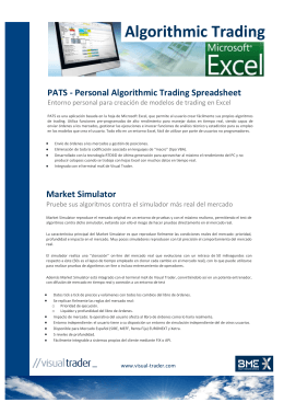 Algorithmic trading en Excel