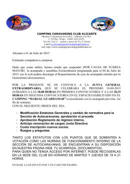 Alicante a 01 de Julio de 2015 Estimado compañero/a campista