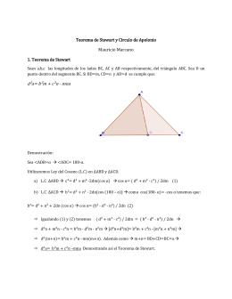 Teorema de Stewart y Círculo de Apolonio Mauricio Marcano 1