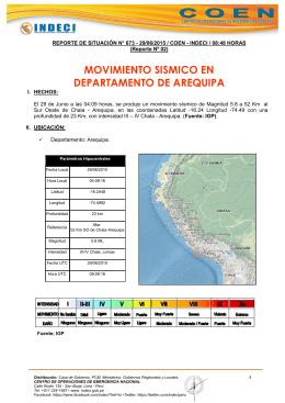 MOVIMIENTO SISMICO EN DEPARTAMENTO DE AREQUIPA