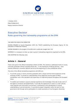 Rules governing the traineeship programme at the European