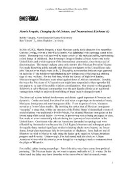 Memín Penguin, Changing Racial Debates, and Transnational