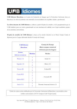Cursos ofrecidos en UAB Idiomes Barcelona (pdf: 0,14 MB)