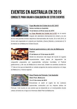 Eventos en Australia en 2015 y 2016