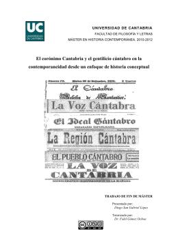 El corónimo Cantabria y el gentilicio cántabro en la