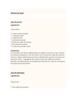 Recetario de sopas Sopa de puerros Ingredientes 4 porciones * 2