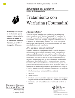 Tratamiento con Warfarina (Coumadin) - UWMC Health On-Line