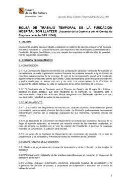 BOLSA DE TRABAJO TEMPORAL DE LA FUNDACIÓN