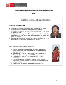 Condecoradas 2004-2009 - Ministerio de la Mujer y Poblaciones