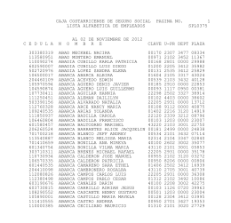 caja costarricense de seguro social pagina no. 1 lista alfabetica de