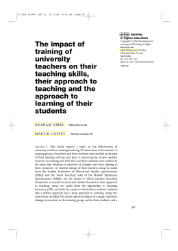 The impact of training of university teachers on their teaching skills