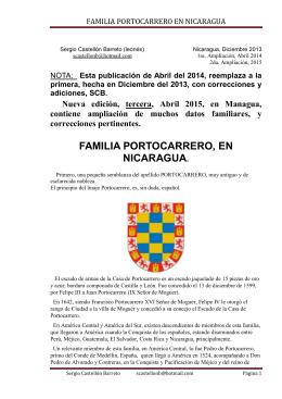 FAMILIA PORTOCARRERO, EN NICARAGUA