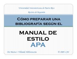 manual de manual de estilo APA - Recinto de Arecibo