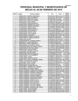 personal municipal y beneficiarios de becas al 28 de febrero de 2015