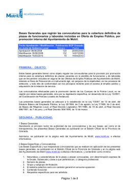 Bases Generales para el acceso a la Oferta de Empleo Público por