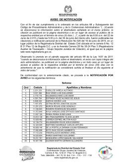 Aviso Web Congreso 2014 - Registraduría Nacional del Estado Civil
