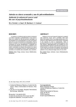 revisiones0 Astenia en cáncer avanzado y uso de psicoestimulantes