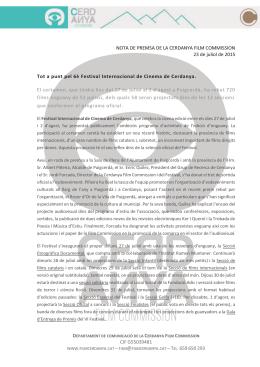 tel. 659 650 293 nota de premsa de la cerdanya film commission
