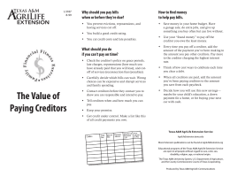 The Value of Paying Creditors Why should you pay bills when or