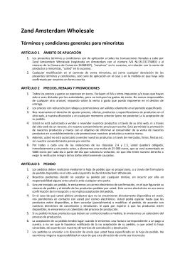 Zand Amsterdam Wholesale Términos y condiciones generales