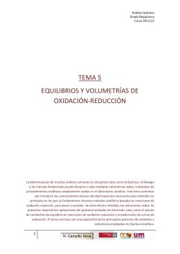 TEMA 5 EQUILIBRIOS Y VOLUMETRÍAS DE OXIDACIÓN