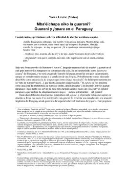 Mba`éichapa oiko la guarani? Guaraní y jopara en el Paraguay