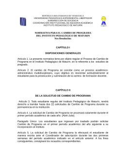 NORMATIVA PARA EL CAMBIO DE PROGRAMA DEL INSTITUTO