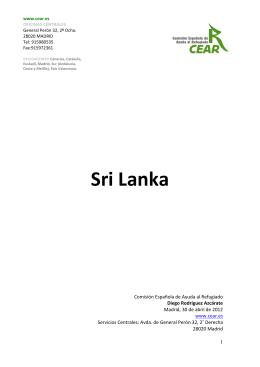SRI LANKA. 2012. Informe general